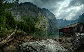 Picture landscape, mountains, clouds, nature, lake, stones, Germany, the barn, Obersee, Obersee