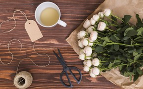 Picture tea, roses, bouquet, Cup, white, buds, packaging, composition