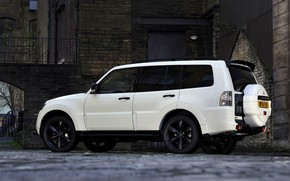 Picture white, silhouette, yard, Mitsubishi, 2012, Black, Pajero, SUV, Shogun, the five-door, Montero