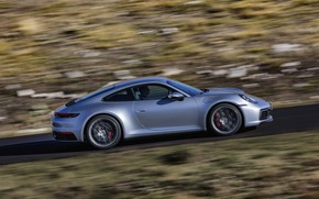 Picture coupe, speed, 911, Porsche, Carrera 4S, 992, 2019