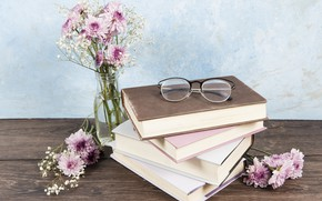 Picture flowers, table, books, bouquet, glasses, vase