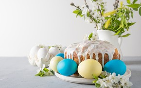 Picture flowers, holiday, eggs, spring, Easter, cake