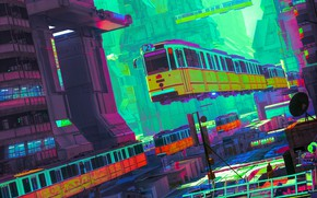 Picture Color, The city, Train, City, Fantasy, Art, Fiction, Transport, Flying vehicles, by beeple, beeple, SYD …