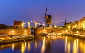 Picture night, bridge, lights, channel, Netherlands, gateway, windmill, Hesden