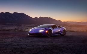 Picture sunset, lights, the evening, Lamborghini, supercar, sunset, purple, Huracan