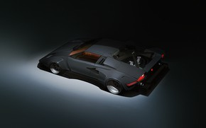 Picture Minimalism, Lamborghini, Retro, Machine, Car, Fantasy, Art, Art, Supercar, Countach, Lamborghini Countach, Cyberpunk, Transport & ...