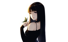 Picture girl, sexy, blouse, long hair, boobs, anime, butterfly, beautiful, pretty, brunette, breasts, attractive, handsome