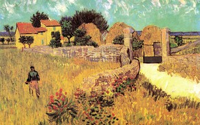 Picture flowers, house, gate, male, Vincent van Gogh, Farmhouse, in Provence