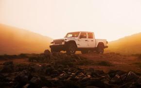 Picture white, fog, stones, SUV, haze, pickup, Gladiator, 4x4, Jeep, Rubicon, humidity, 2019