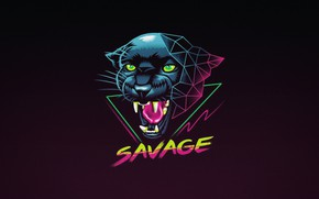 Picture New Retro Wave, Panther, Synthwave style of the Panther, Cat, Panther, by Vincent Trinidad, Background, …