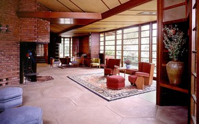 Picture design, furniture, interior, living room, Stanford University, Hanna House