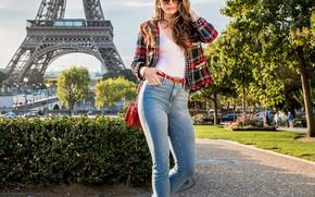 Picture girl, Paris, Tori Black, long hair, brown hair, brown eyes, photo, France, model, lips, jeans, …