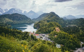 Picture forest, mountains, lake, castle, Germany, Hohenschwangau, Bavaria
