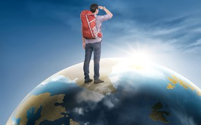 Picture the sky, the sun, planet, jeans, traveler, Earth, male, shirt, guy, is, backpack, looks, the …
