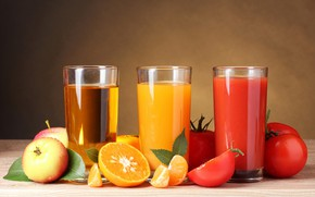 Picture leaves, table, background, apples, oranges, three, glasses, fruit, vegetables, tomatoes, bokeh, juices, orange, tomato, Apple