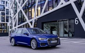 Picture blue, Audi, facade, 2018, universal, A6 Avant
