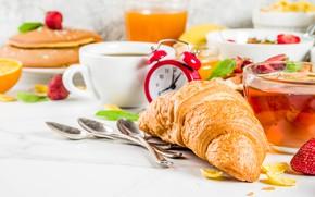 Picture berries, tea, food, Breakfast, fruit, cakes, croissant, pancakes