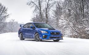 Picture Subaru, Impreza, WRX, Blue, Winter, STI, Snow, White