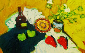 Picture 2008, plate, still life, red pepper, green apples, The petyaev, a bottle of cognac