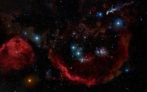 Picture Stars, Nebula, Emission nebula, Constellation of Orion, Barnard's Loop, Orion Molecular Cloud Complex, Sh 2-276