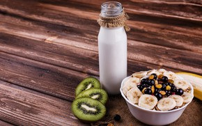 Picture bottle, Breakfast, milk, fruit, wood, nuts, breakfast, milk, oatmeal, granola, kiwis