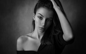 Picture black & white, girl, long hair, photo, photographer, monochrome, model, lips, face, brunette, b&w, shirt, …