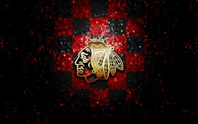 Picture wallpaper, sport, logo, NHL, hockey, glitter, checkered, Chicago Blackhawks