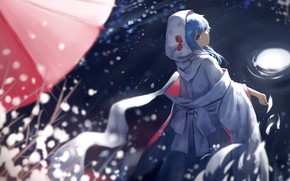 Picture night, lights, umbrella, hood, vocaloid, Hatsune Miku, Japanese clothing, the reflection in the water, on …