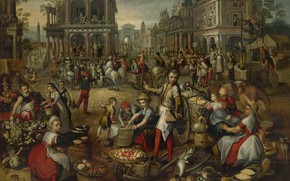 Picture oil, picture, Joachim Bacelar, Joachim Beuckelaer, Market square. In the background the Flagellation, 1590
