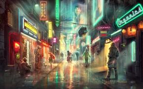 Picture The city, Future, Neon, Street, People, Rain, City, Fiction, Neon, Lane, Street lights, Cyberpunk, Igor …