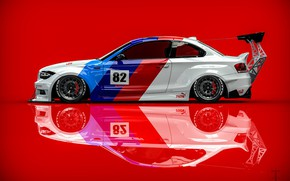 Picture Auto, BMW, Machine, side view, Rendering, Red background, BMW 1 Series, Transport & Vehicles, Clinched, …