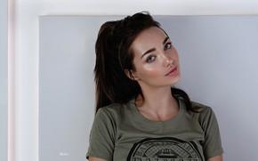 Picture look, pose, model, portrait, makeup, t-shirt, hairstyle, brown hair, beauty, Nika, Eugene Balin, E.Balin