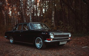 Picture autumn, forest, leaves, tuning, black, drives, side, rooms, wheel, Volga, GAS, classic car, GAZ-24, black …