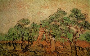 Picture trees, ladder, two girls, Vincent van Gogh, collect fruits, Olive Picking 3