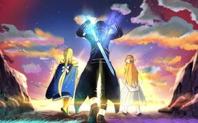 Picture girls, guy, swords, crossover, Sword Art Online, Asuna, Kirito, Sword Art Online