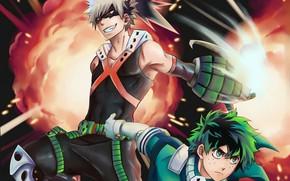Picture anime, Smile, art, Two, guys, Boku no Hero Academy, My hero Academy, Midori Isuku, Bakuga …