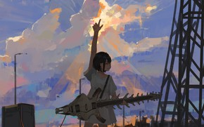 Picture the sky, girl, guitar, skeleton, by XilmO