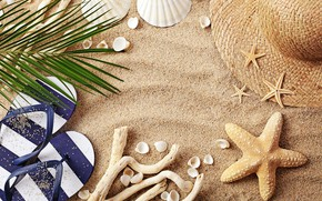 Picture sand, beach, summer, shell, hat, flip flops