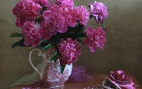 Picture rose, key, beads, vase, handbag, still life, peonies, purse