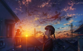 Picture the sky, sunset, girls