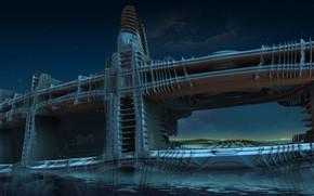 Picture the sky, clouds, night, bridge, design, design, stars, pond, Sentinel bridge
