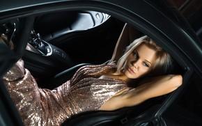 Picture machine, auto, girl, pose, dress, Sergey Kant