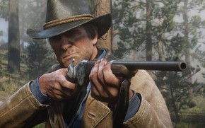 Picture hat, hunting, weapons, Rockstar, Bandit, Red Dead Redemption 2, Arthur Morgan