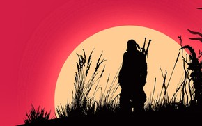 Picture fantasy, game, The Witcher, minimalism, sun, man, weapons, digital art, artwork, warrior, swords, fantasy art, …