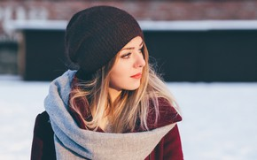 Picture winter, hat, Girl, the beauty