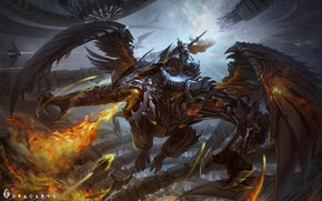 Picture Dragon, Fire, Armor, Wings, Flame, Fantasy, Dragon, Armor, Art, Fiction, Attack, Creatures, Dracarys, Yidong Shui, …