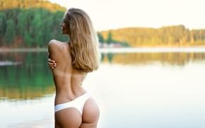 Wallpaper ass, water, pose, panties, tan, Julia Melnikova, Ilya Pistols