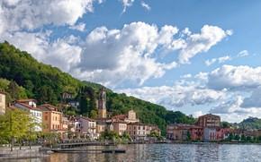 Picture the sky, trees, lake, Marina, Italy, pierce, Porto Ceresio, lake Lugano