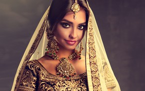 Picture girl, style, portrait, decoration, Beautiful, woman, necklace, Indian, Dress