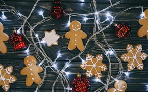 Picture decoration, New Year, cookies, Christmas, garland, Christmas, New Year, cookies, decoration, gingerbread, Merry